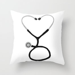 Heart Shaped Stethoscope for Doctor or Nurse Throw Pillow