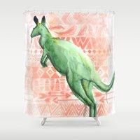 kangaroo Shower Curtains featuring Kangaroo by Carmen McCormick