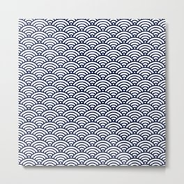 Navy Blue Seigaiha Sea Wave Nautical Minimalist Metal Print