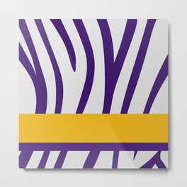 Royal Purple/White Zebra Stripe Pattern w/ Gold/Purple Divider Lines Metal Print