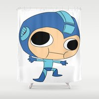 megaman Shower Curtains featuring Silly Megaman by oshio