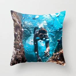 Diving in Spain Throw Pillow