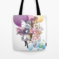 madoka magica Tote Bags featuring Puella Magi Madoka Magica - Only You by Yue Graphic Design