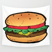 burger Wall Tapestries featuring Burger by CGREDNECK