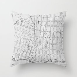 Vintage Map of Williamsburg Brooklyn (1827) Throw Pillow