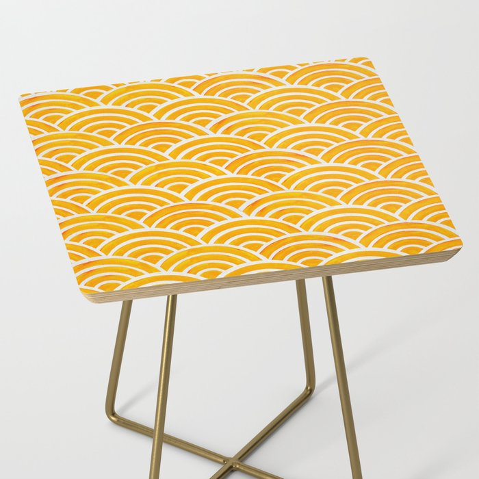 Japanese Seigaiha Wave – Marigold Palette Side Table