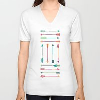 hunter V-neck T-shirts featuring Hunter by Liz Urso