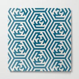 Moroccan Teal Ornate Geometric Pattern Metal Print