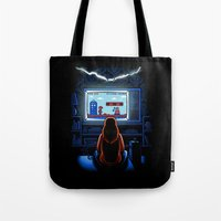 8bit Tote Bags featuring 8bit Who by Bamboota
