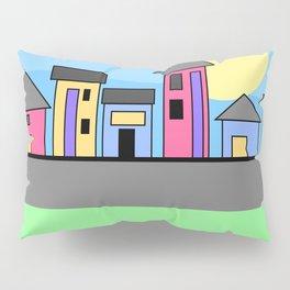 Pastel Daytime Houses Pillow Sham