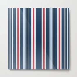 Classic navy nautical mixed stripes pattern Metal Print