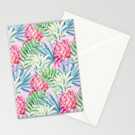 Pineapple & watercolor leaves Stationery Cards