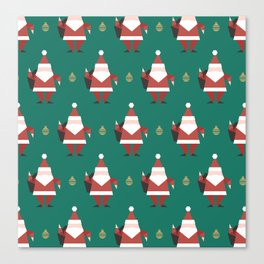 Origami Santa (Patterns Please) Canvas Print