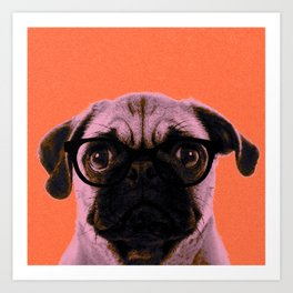 Geek Pug with Glasses in Orange Background Art Print