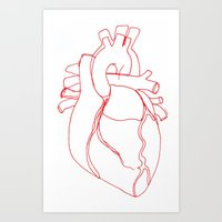 anatomical heart Art Prints featuring Anatomical heart by Laurel Howells
