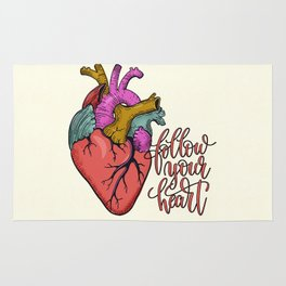FOLLOW YOUR HEART - tatoo artwork Rug
