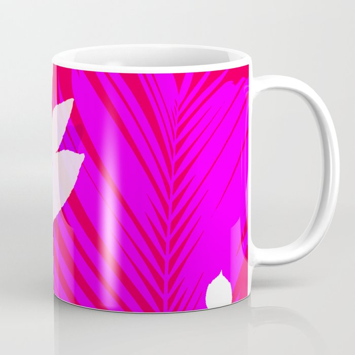 Leaves silhouette in pink and red  Jungle Brazil Coffee Mug
