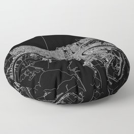 New Orleans Black Map Floor Pillow