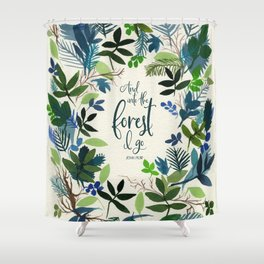 Into the Forest Watercolor Shower Curtain