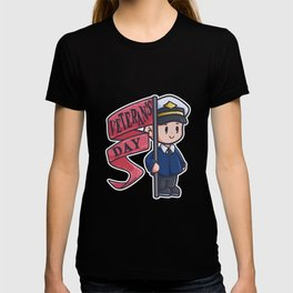 Veteran soldier proud flag captain comic gift T-shirt