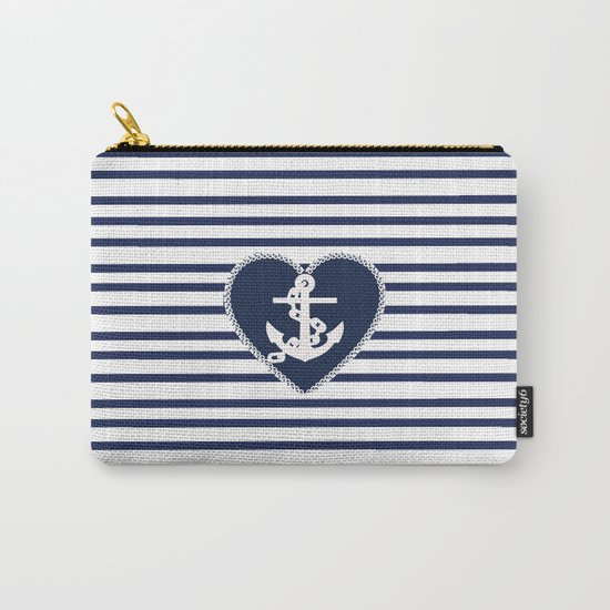 Modern navy blue white heart anchor nautical stripes by pink_water