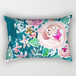 PLENITUDE FLORAL Navy Peach Watercolor Rectangular Pillow