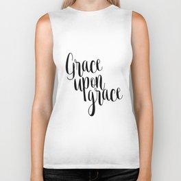 Grace Upon Grace,Bible verse,Christian quote,Scripture print,printable verse,teen Biker Tank
