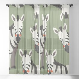 Zebra, Animal Portrait Sheer Curtain