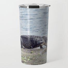 Large American Alligator goes to the lake Travel Mug