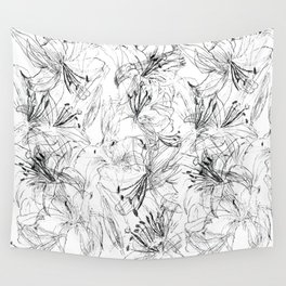 lily sketch black and white pattern Wall Tapestry