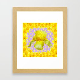 ABSTRACT YELLOW SPRING IRIS GOLDEN DAFFODILS FRAME Framed Art Print