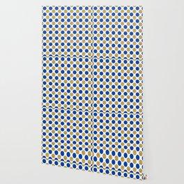 Pastel pink navy blue faux gold glitter polka dots Wallpaper