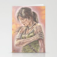 lara croft Stationery Cards featuring Miss Croft by JadeJonesArt