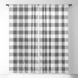 Buffalo Check Black White Plaid Pattern Sheer Curtain