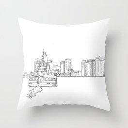 Halifax Ferry, black and white Throw Pillow