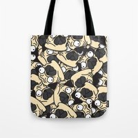pugs Tote Bags featuring PUGS! by Puglic Enemy
