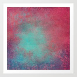 Grunge Garden Canvas Texture:  Pink and Turquoise Ornate Art Print