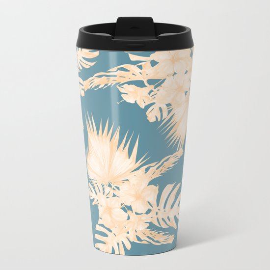 Island Vacation Hibiscus Palm Coral Teal Blue Metal Travel Mug
