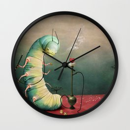 fairy tale story Wonderland with caterpillar and hookah Wall Clock