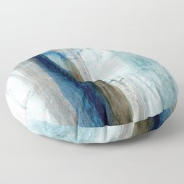 Blue and Brown Abstract Watercolor Floor Pillow