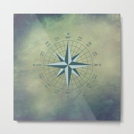 Compass Graphic on Grey Textured background Metal Print