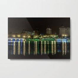 Night city and a river (Nantong, China) (2015-5NN13) Metal Print