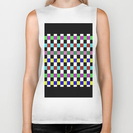 Retro 3 - Abstract, multicoloured, bold, chekkered, checkered pattern Biker Tank