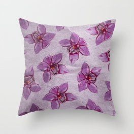 Orchids Pattern Throw Pillow