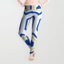 The Hive - Blue-Yellow-Blue Hexagons on White Background Leggings