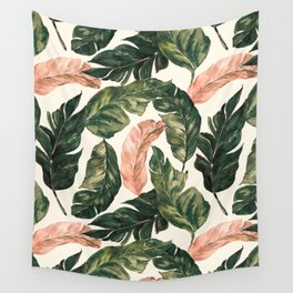 Leaf green and pink Wall Tapestry