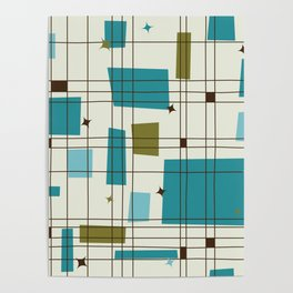 Mid-Century Modern (teal) Poster