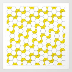 Yellow Hexagon pattern #1 Art Print
