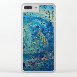 Blue and Gold Spiral Art Clear iPhone Case