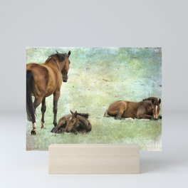Mare and Two Foals Mini Art Print